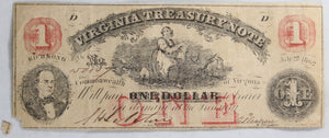 Confederate Virginia Treasury Note 1862 $1