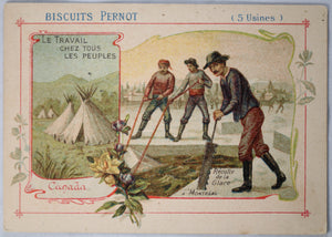 Cutting ice blocks near Montreal - Pernot Biscuits victorian trade card