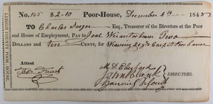 Dec. 4th 1848 Allentown PA Lehigh County Poor-House cheque weaving