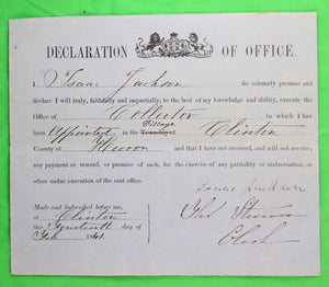 Declaration of Office - Collector for Clinton Ont. (1861)