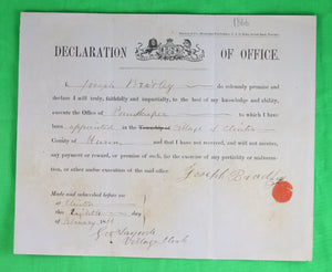 Declaration of Office - Poundkeeper for Clinton Ont. (1866)
