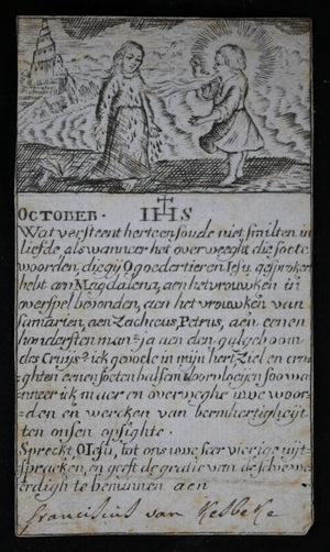 Dutch religious woodblock print, month of October @18th century
