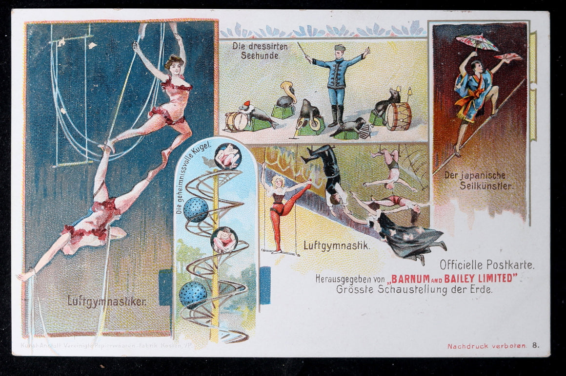 Early 1900s Barnum and Bailey trapeze postcard (German) #1
