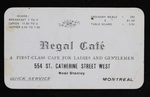 Early 1900s Regal Café card (Montreal QC)
