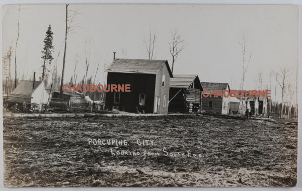 Early 1900s photo postcard mining town Porcupine Northern Ontario
