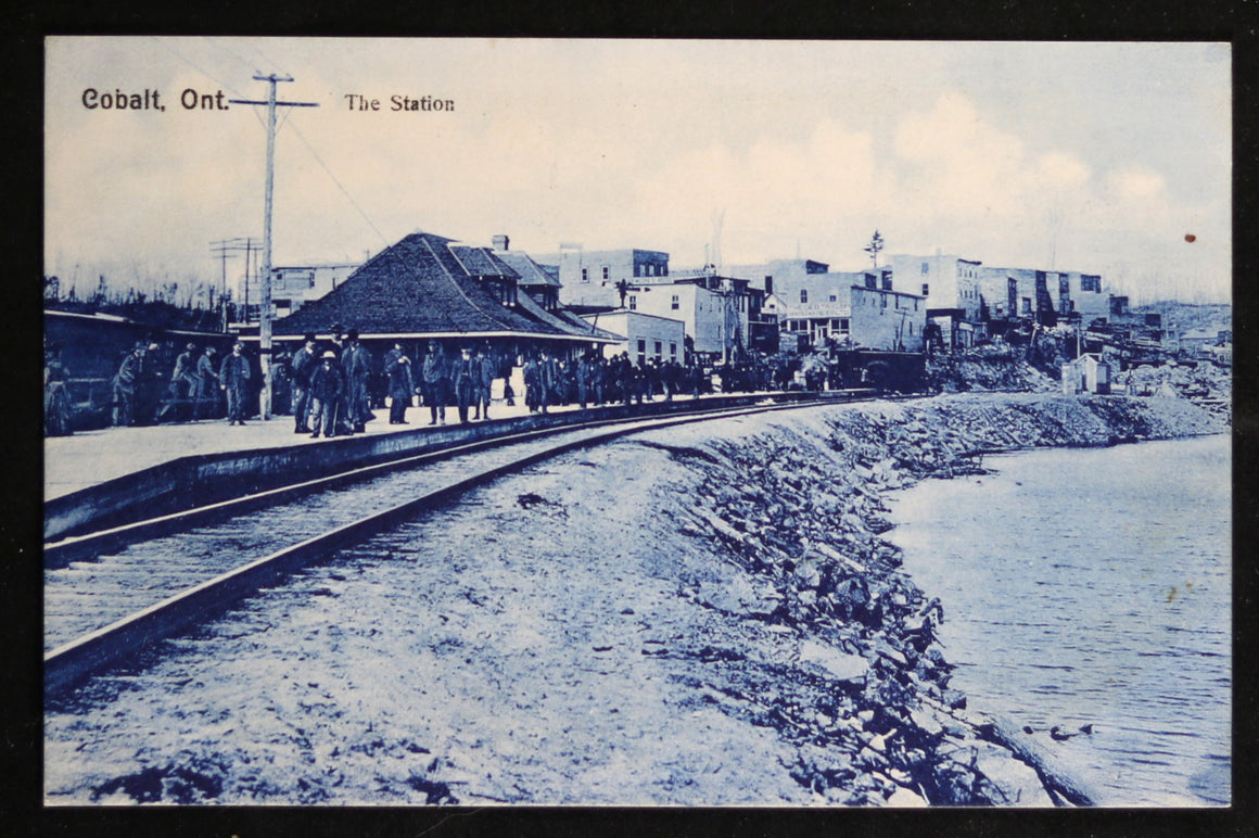 Early 1900s postcard train station Cobalt Canada