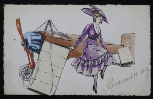 Early 1920s postcard of plane with flip-out wings