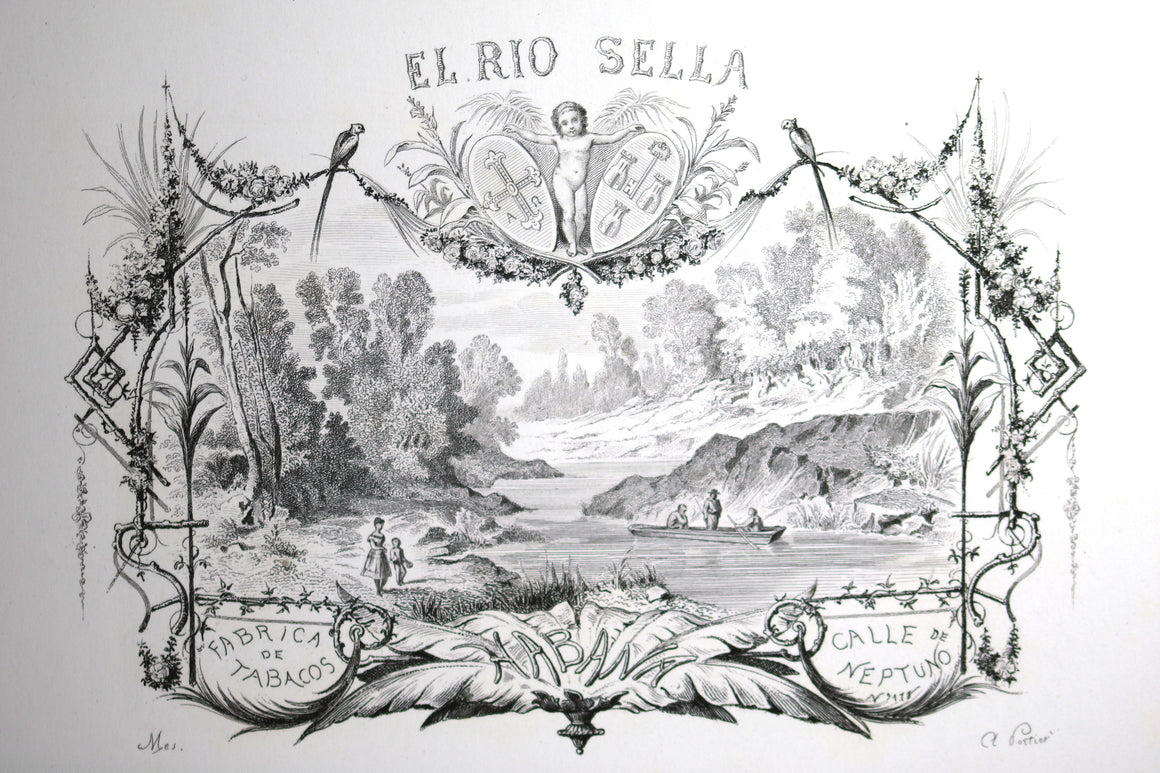 El Rio Sella Cuban cigar label design print @late 1800s
