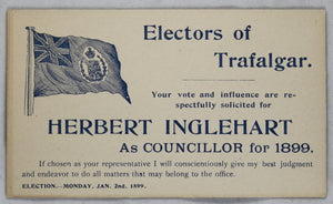 Election Card Trafalgar Township (Halton County Ontario) 1899