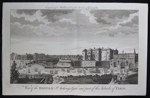 Engraving 'View of the Bastille and St Anthony's Gate' Middleton @1777