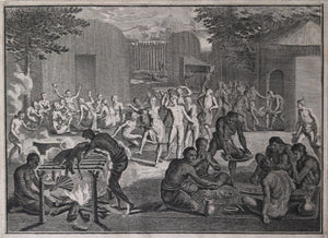 Engraving of Canadian Aboriginal funeral by Picart (1723-43)