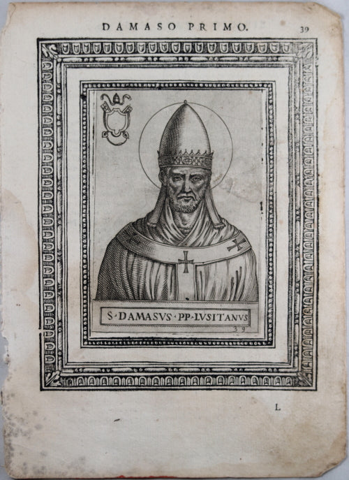 Engraving of Pope Damaso Primo by de'Cavalieri 1587