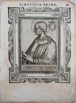 Engraving of Pope Simplicio Primo by de'Cavalieri 1587