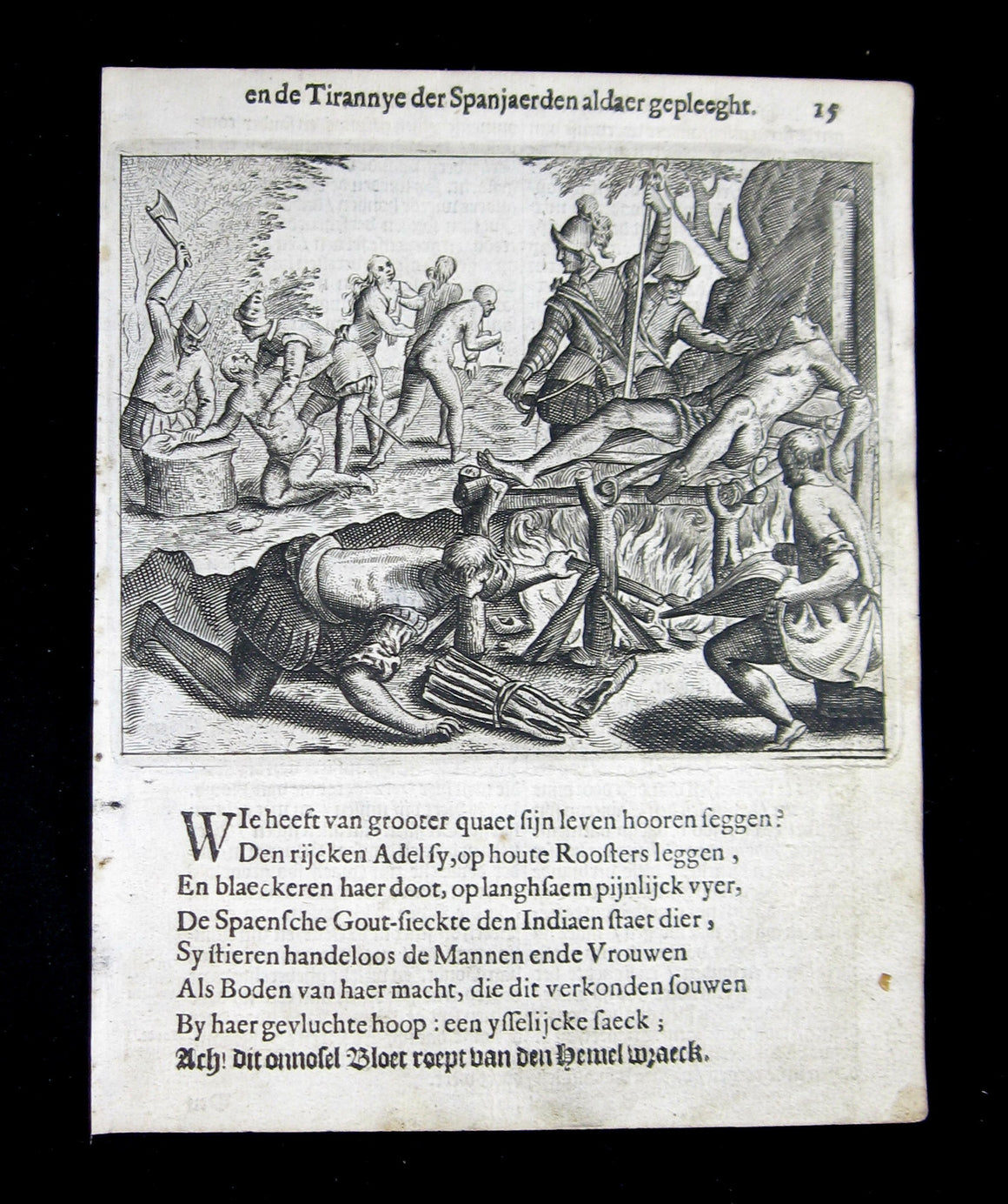 Engraving of Spanish torturing natives in America - Bartolomé de Las Casas 1664 #1/2