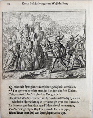 Engraving of Spanish torturing natives in America 1664