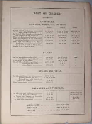 Eucharistic Vestment Maker price list (London England)  - mid 1800's