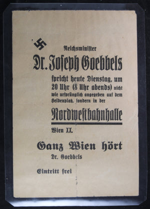 Flyer for speech by Dr. Goebbels at NW Train Station Vienna