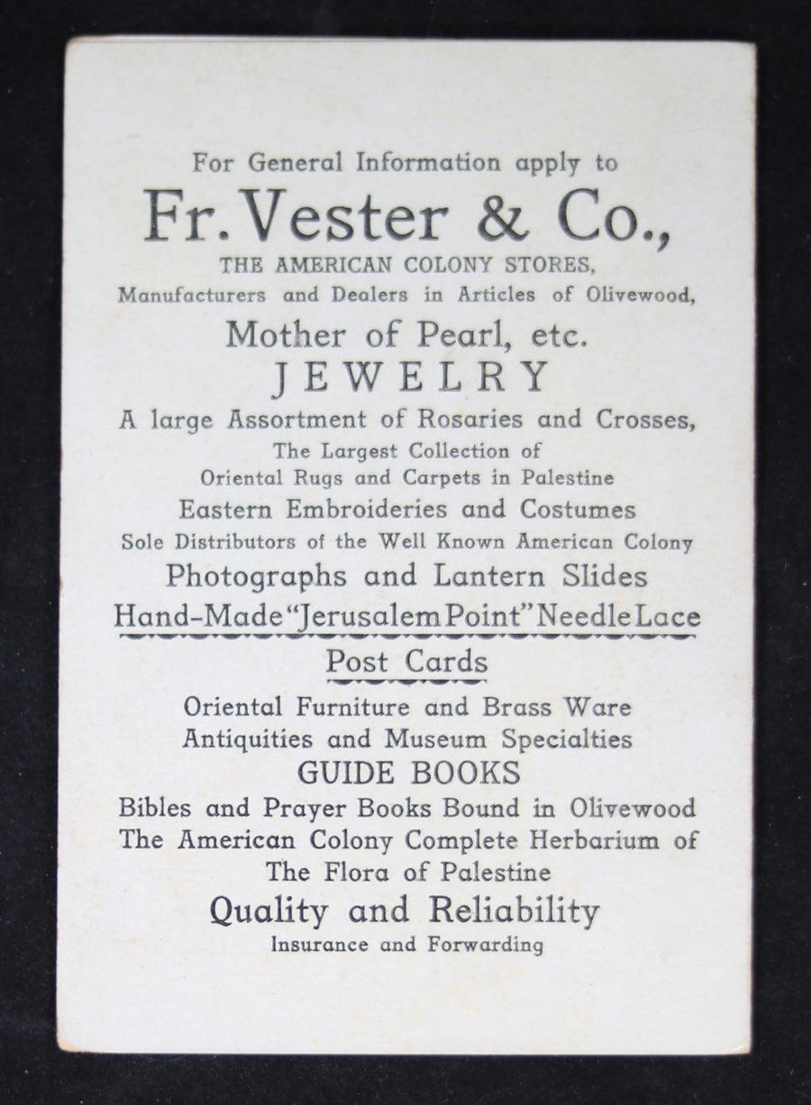 Fr. Vester & Co. advertising and Jerusalem map @1904