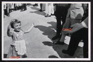German propaganda photograph young girl meeting Hitler @1935