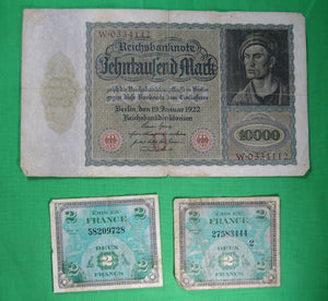 Set of 3 currency bills: Germany 1922, France 1944