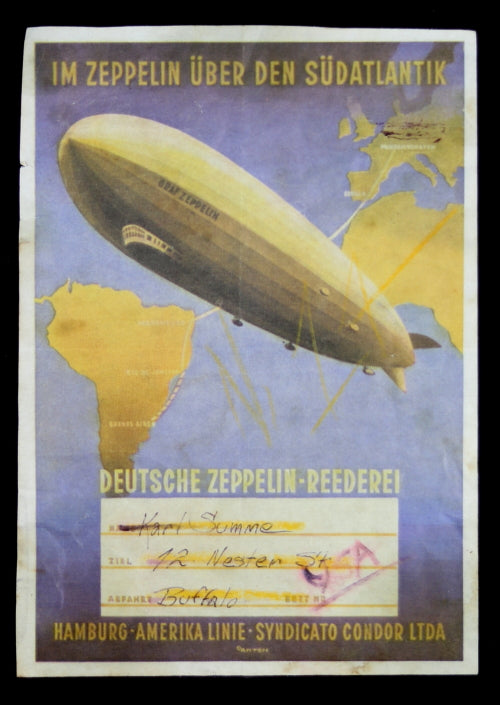 Graf Zeppelin  LZ-127 used baggage tag (1935-37)
