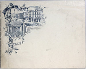 Grand Hotel Marini Rome - Letterhead paper and envelope (early 1900's)