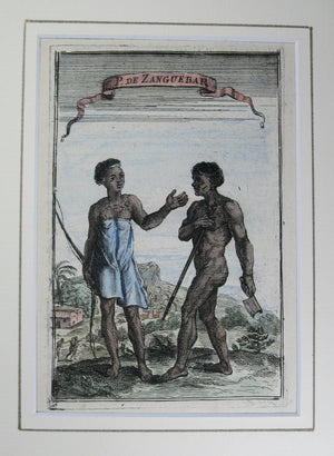 Gravure 'De Zanguebar' du 'Description de L'Univers' Mallet 1683 / 17th Century print People of Zanzibar