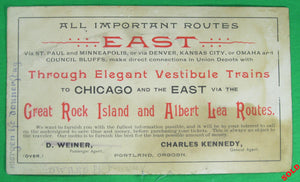 Great Rock Island and Albert Lea Railroad - Advertising card (~1880s)