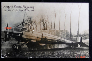 Guerre 14-18 CPA photo avion français abattu Tournai 10 janvier 1916
