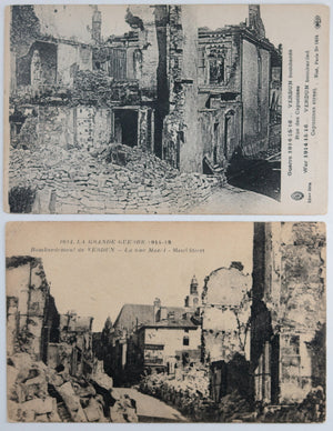 Guerre 14-18 France 4 cartes postales avec photos ruines (1914-18)