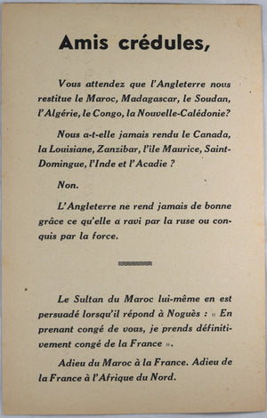 Guerre 39-45 Feuille propagande anti-Angleterre  WW2 French Anti-England flyer