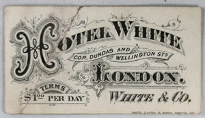 Hotel White London Ontario small advertising card (early 1900s)