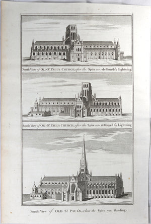 Engraving with three early images of St Paul's Church London @1785