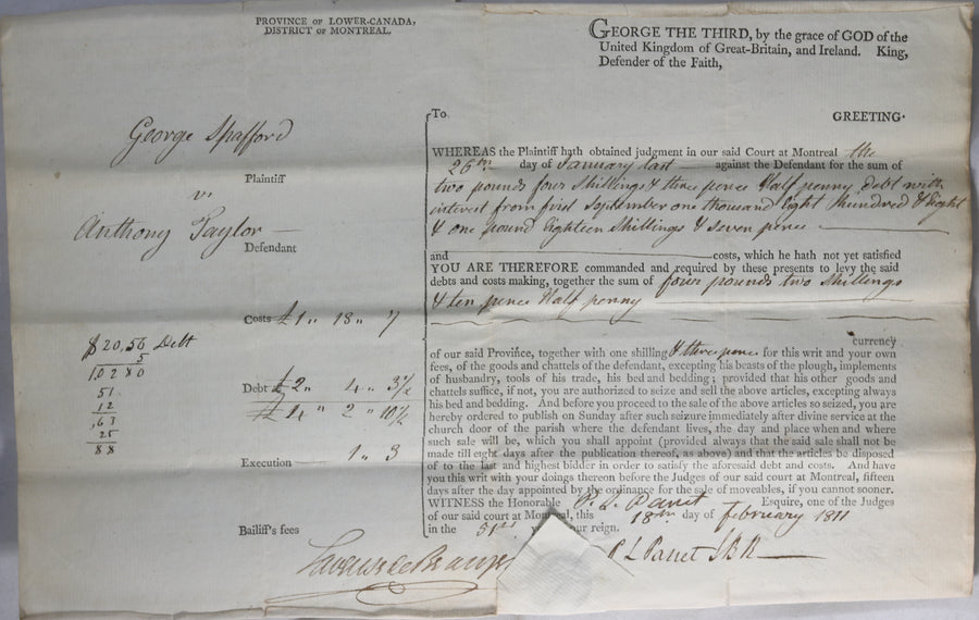 1811 Montreal two documents signed Governor Craig