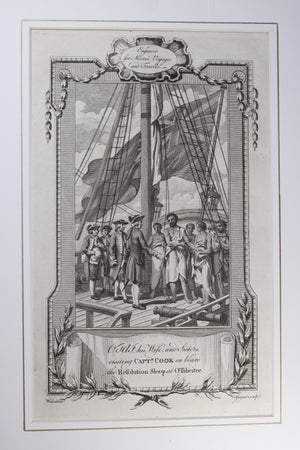 1778 engraving Captain Cook's Second Voyage, meeting Tahitians