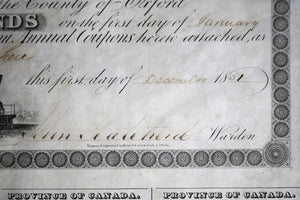 1851 Province of Canada GTR Railway Debenture £100 County of Oxford