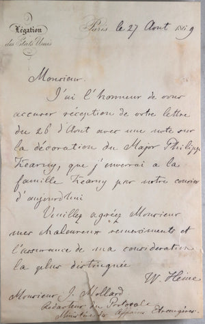 1869 french letter regarding American military hero Philip Kearney