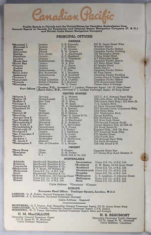 Canadian Pacific Steamship Passenger List - 1948