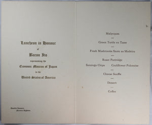 Menu for luncheon held for Japanese Baron Ito - Ottawa 1918