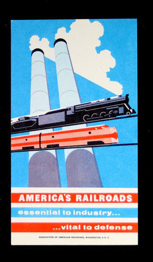 Joseph Binder patriotic railway card ~1952
