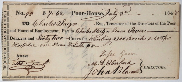 July 3rd 1848 Allentown PA Lehigh County Poor-House: hauling bricks