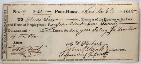 June 5 1848 Allentown PA Lehigh County Poor-House: Director salary
