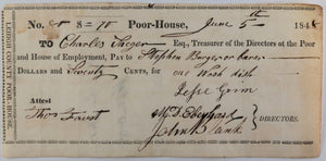 June 5 1848 Allentown PA Lehigh County Poor-House cheque for wash dish