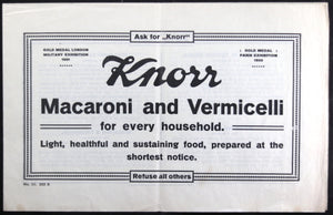 Knorr Macaroni - advertising flyer with recipes (early 20th)