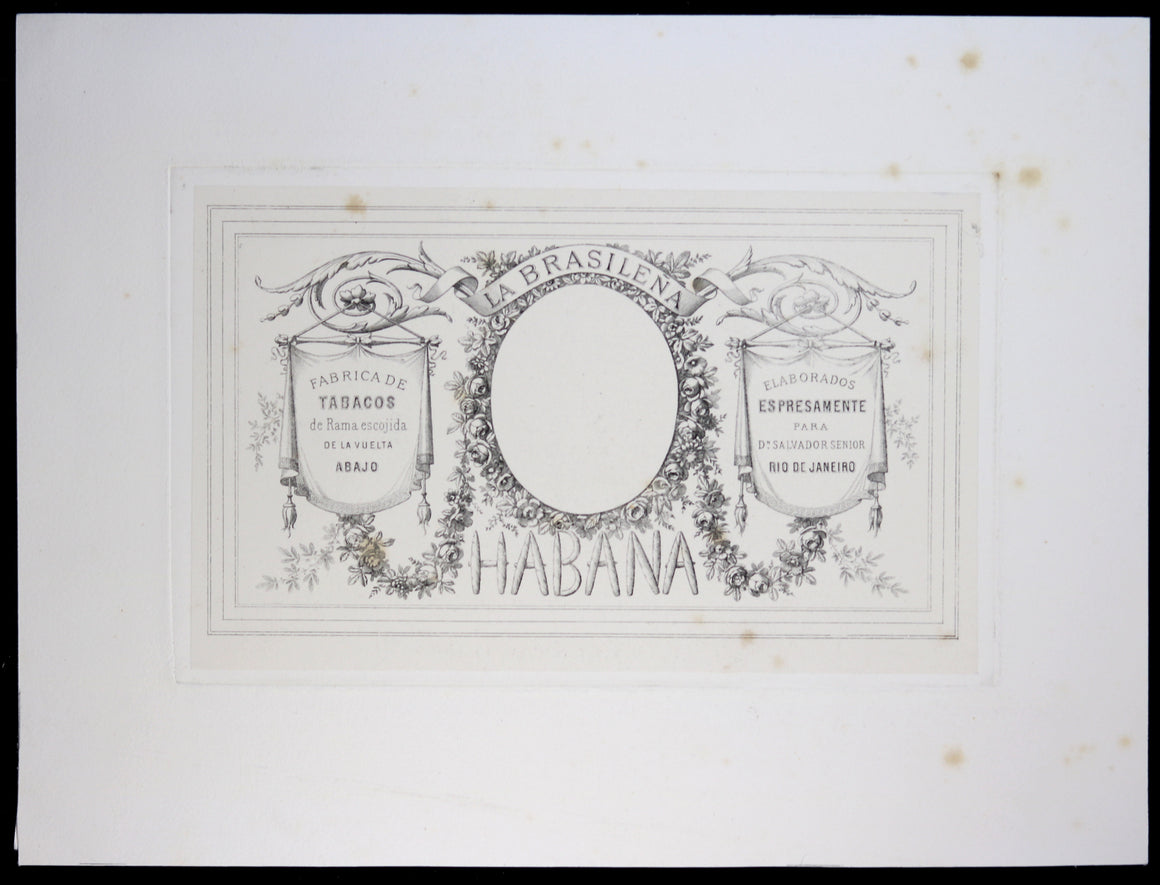 La Brasilena Cuban cigar label design print @late 1800s