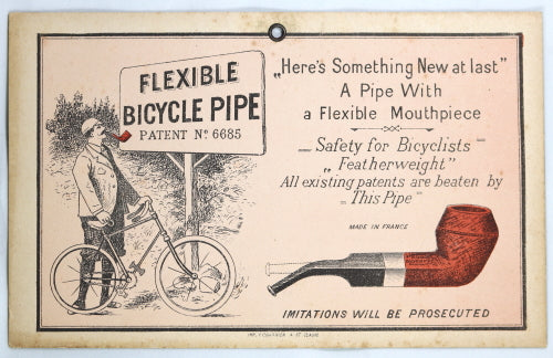 Large advertising card for 'Flexible Bicycle Pipe' early 1900s