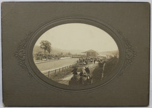 Late 1800s photo of crowd at horse racing track
