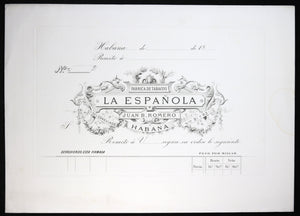 Late 1800s proof engraving of Cuban cigar maker Juan B. Romero's cheques