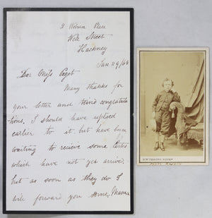 Letter and CDV photo of dwarf actor Percy Roselle (UK) @1865