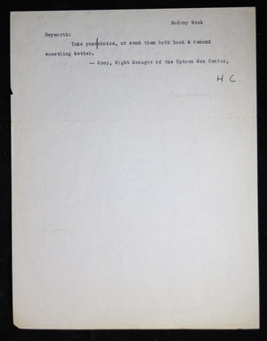 Letter from Hollywood agent Jules Goldstone to writer Homer Croy 1947
